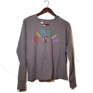 Minnie Mouse Hooded Long Sleeve Gray Shirt Junior